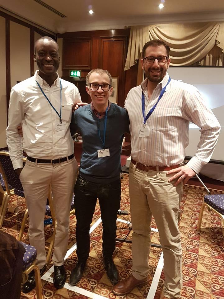 Mutasim Ali with NIF UK CEO Adam Ognall and President of Arza Rabbi Josh Weinberg.